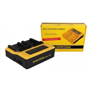 Двуканално зарядно с дисплей Patona за батерии Canon BP-820, BP-828