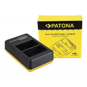 Двуканално USB зарядно с дисплей Patona за батерии Canon LP-E6, LP-E6N